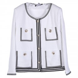 WHITE BLAZER WITH GOLD BUTTONS