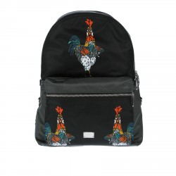 BLACK BACKPACK WITH PRINTED ROOSTERS