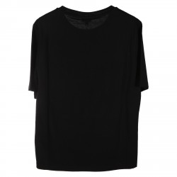 BLACK T SHIRT WITH MULTICOLOR PRINTED