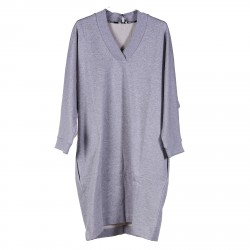 GREY SWEATER DRESS WITH PRINTED BACK