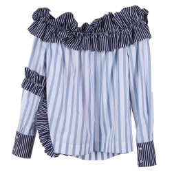 STRIPED BLOUSE WITH ROUCHES APPLICATIONS