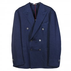 BLUE COTTON AND LINEN DOUBLEBREASTED SUIT