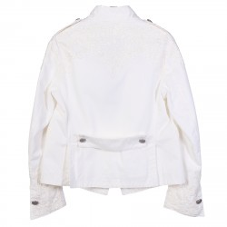 WHITE JACKET WITH FLOWERS APPLICATIONS