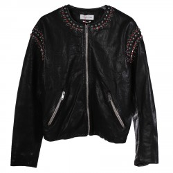 BLACK LEATHER JACKET WITH STUDS