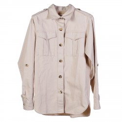 BEIGE SHIRT WITH BIG BREAT POCKETS
