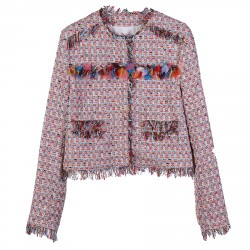 MULTICOLOR BLAZER WITH FRINGES