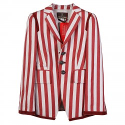 RED AND WHITE STRIPED BLAZER