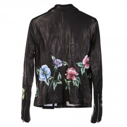 BLACK LEATHER JACKET WITH FLWERS