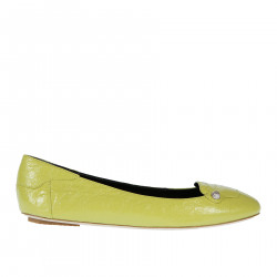 YELLOW LEATHER FLAT WITH STUDS