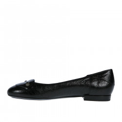 BLACK LEATHER FLAT WITH STUDS