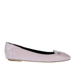 PINK LEATHER FLAT WITH STUDS