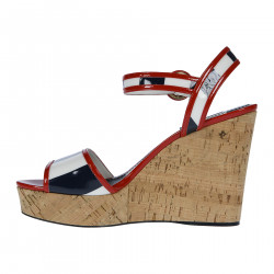 PATENT LEATHER SANDAL WITH CORK WEDGE HEEL
