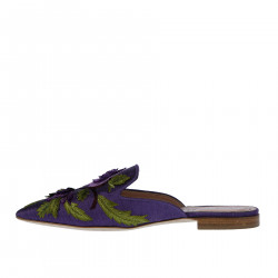 VIOLET FLAT SANDAL WITH EMBROIDER FLOWERS