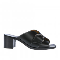 BLACK LEATHER SANDAL WITH BUCKLE
