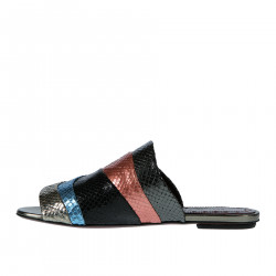 LEATHER PYTHON EFFECT FLAT SANDAL