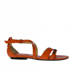 ORANGE LEATHER FLAT SANDAL WITH STUDS