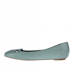 LIGHT BLUE LEATHER FLAT WITH STUDS