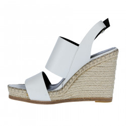 WHITE LEATHER SANDAL WITH RAFFIA WEDGE