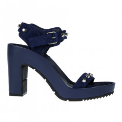 BLUE SUEDE AND LEATHER SANDAL WITH STUDS