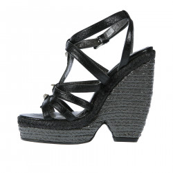 BLACK LEATHER WEDGE SHOE