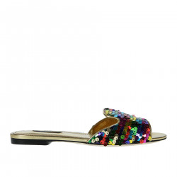 FLAT SANDAL WITH MULTICOLOR SEQUINS