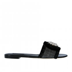 BLACK FLAT SANDAL WITH COCKADE