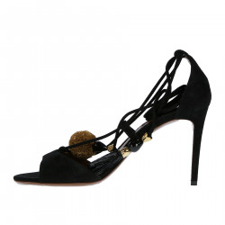 BLACK SUEDE SANDAL WITH ANKLE RIBBONS