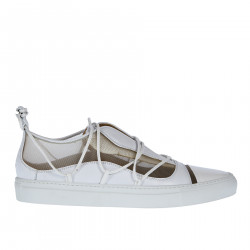 WHITE LEATHER SNEAKER WITH NET