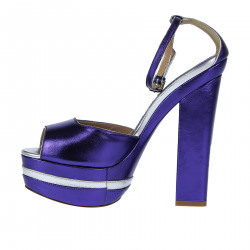 VIOLET AND SILVER LEATHER SANDAL