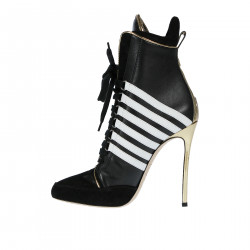 BLACK AND WHITE LEATHER ANKLE BOOT