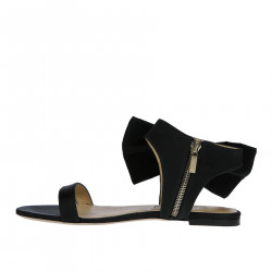 BLACK SATIN FLAT SANDAL WITH BOW