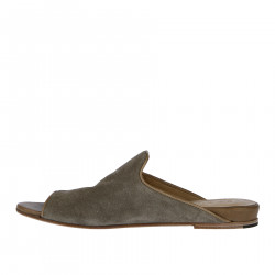 DOVE GREY SUEDE FLAT SANDAL