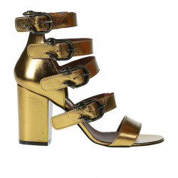 COPPER LEATHER SANDAL WITH BELTS