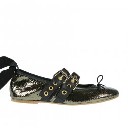 LEATHER FLAT SHOES WITH RIBBONS AND BELT
