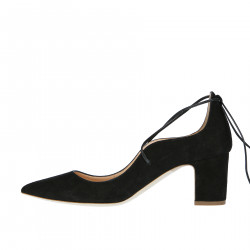 BLACK SUEDE DECOLLETE WITH RIBBONS