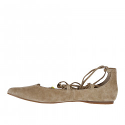 BEIGE SUEDE FLAT SHOES