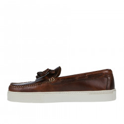 BROWN LEATHER BOAT SHOE