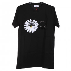 BLACK T SHIRT WITH FLOWER SEQUINS