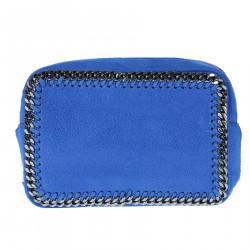 BLUE SHOULDER BAG WITH CHAINS PROFILE