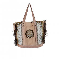 PINK SHOULDER BAG WITH FRINGES