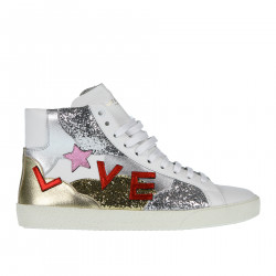 WHITE SNEAKER WITH GOLD AND SILVER GLITTERS