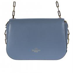 LIGHT BLUE SHOULDER BAG WITH GOLDEN CHAINS