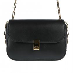 BLACK SHOULDER BAG WITH GOLDEN CHAINS