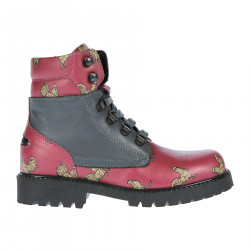 PINK AND GREY LEATHER DESERT BOOT