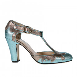 DOLLY LIGHT BLUE AND COPPER SANDAL