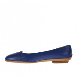 BLUE LEATHER FLAT WITH BUCKLE