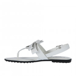 WHITE LEATHER SANDAL WITH BOW