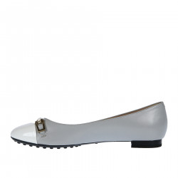 GREY AND WHITE FLAT SHOES