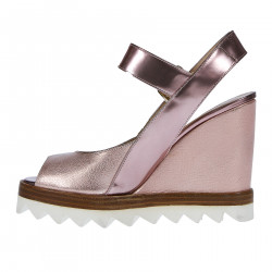 PINK LEATHER WEDGE SHOE