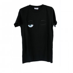 BLACK T SHIRT WITH EMBROIDERED BRAND LOGO